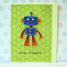 Paper Quilled Robot Birthday Card by QuillyNilly on Etsy, $8.00