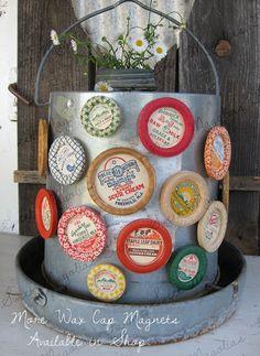 "vInTAge MiLk BotTLe CaP ""MAGNETS""  available at Sweet Magnolias Farm 4.75ea. Charming Farmhouse Style !"