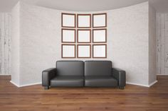 Picture frames and sofa