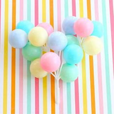 Pastel Party Balloon Cupcake Toppers/Picks
