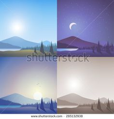 #flat #vector #nature #landscape - #forest, #hill, #mountain, #river
