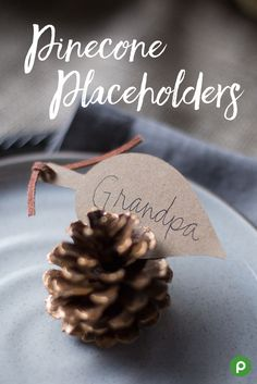 Get crafty with these Pinecone Placeholders. Paint the tips of your pinecones metallic gold. Cut a leaf design or any shape out of brown card stock. Write your loved ones' names on them. Tuck a name card into each pinecone, then place at each table setting.