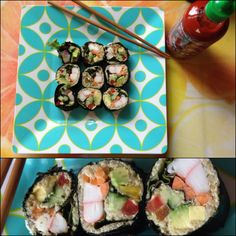 First time making homemade sushi tasted amazing! Ingredients: edamame humus, quinoa, crab, red kale, avocado, cucumber, red pepper, carrot all rolled up on a roasted seaweed sheet, sriracha on top. Yum! #sushi #clean #sriracha