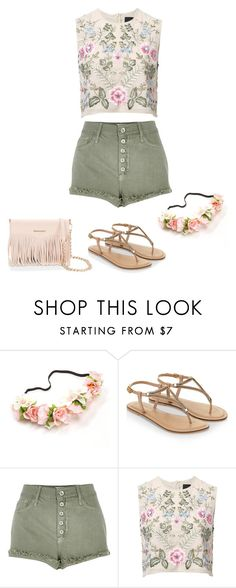 """""""Embroidered Style"""" by ella178 ❤ liked on Polyvore featuring Accessorize, River Island, Needle & Thread, Rebecca Minkoff, highwaistedshorts, embroidered and FloralHeadband"""