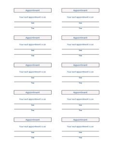 appointment log template - free appointment card template medical forms pinterest