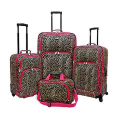 U.S. Traveler Fashion Leopard 4 Piece Spinner Luggage Set ($113) ❤ liked on Polyvore featuring bags, luggage, luggage sets and pink
