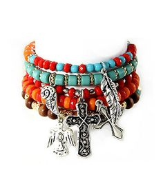 Love this Silver & Turquoise Beaded Charm Bracelet Set by MOA International Corp on #zulily! #zulilyfinds