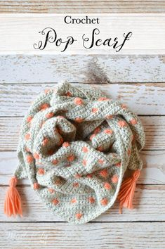 Crochet Pop Scarf - This pretty scarf comes in a fabulous kit by We Are Knitters! It's beginner friendly and cozy to wear. Easy Crochet Socks, Crochet Socks Pattern, All Free Crochet, Crochet Scarves, Crochet Shawl, Crochet Clothes, Modern Crochet Patterns, Knitting Patterns, Armband Diy