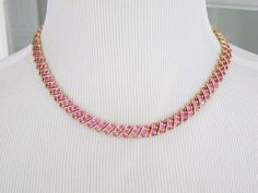 """14K Sterling Silver 925 Genuine Natural Burmese Ruby 3 Row Tennis Necklace 17"""" #QVC #Tennis"""