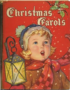 Old Christmas carols sheet music book - illustration by F.D Lohman