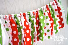 Red, green and white fabric tie garland. The perfect touch for your Christmas party or holiday decorations. My garlands are very full and neatly hand-tied. And, they are reusable! Just drape from a ha Christmas Bunting, Diy Christmas Decorations Easy, Grinch Christmas, Christmas Fabric, Christmas Colors, Christmas Holidays, Christmas Crafts, Christmas Ideas, Chevron Fabric