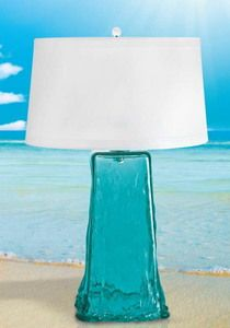 Dark Aqua Wave-Like Glass Lamp. I'm looking for a good lamp in the bedroom. A sea green-blue would be perfect