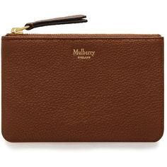 Mulberry Zip Coin Pouch ($155) ❤ liked on Polyvore featuring bags, wallets, oak, zip wallet, leather coin pouch, zipper coin purse, zipper change purse and coin purses