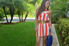 Stripped shirt dress - blue bag - belt
