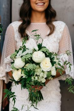 Fresh white, cream & green summer bouquet full of david austin roses, hydrangea, queen annes lace & jasmine vine  Photography: The White Tree   By Melbourne Wedding Florist Floretta