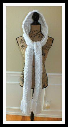 Connie's Spot© Crocheting, Crafting, Creating!: Free Hooded Winter Scarf in White©