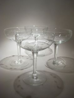 4 Princess House Crystal Champagne Coupes  Etched