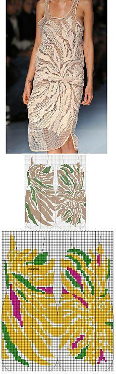 Платье вяжется крючком или вышивается по сетке