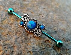 Blue Fire Opal Steam Punk Gear Industrial Barbell 14ga Upper Ear Piercing Body Jewelry