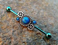Blue Fire Opal Steam Punk Gear Industrial Barbell 14ga Upper Ear Piercing Body Jewelry