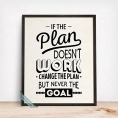 If The Plan Doesnt Work Print Typography Poster Wall by VocaPrints