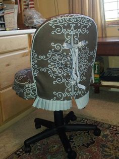 Office Chair Slpicover by SHFbyJ com chairreupholstery is part of Office chair diy - Office Chair Makeover, Office Chair Mat, Office Chair Cushion, Furniture Makeover, Diy Furniture, Office Chair Covers, White Leather Dining Chairs, Blue Velvet Dining Chairs, Chair Reupholstery