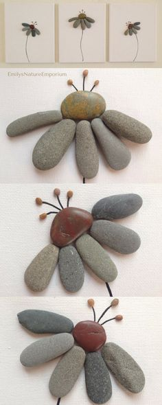 Pebble art wall art decor beach decor home decor canvas art flowers unique gift shabby chic wall hanging Stone Crafts, Rock Crafts, Arts And Crafts, Art Crafts, Beach Canvas Paintings, Canvas Art, Art Pierre, Rock And Pebbles, Flower Art