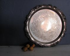 Antique Serving Tray Silver Plate Very Ornate by NifticVintage