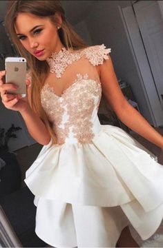 Ivory Homecoming Dresses,Lace Homecoming Dresses,Shrort Homecoming Dress,Cute Dresses, #Short Homecoming Dress #HomecomingDresses #Short PromDresses #Short CocktailDresses #HomecomingDresses