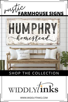 Add a touch of modern farmhouse charm to your walls with this rustic homestead sign featuring your last name. A charming sign for lovers of farmhouse style decor, this lightweight, easy to hang large canvas wall art is a delightful addition to your kitchen, dining room or living room. #canvasart #modernfarmhouse #farmhousedecor #farmhousesign #lastnamesign Wall Decor Design, Unique Wall Decor, Farmhouse Style Decorating, Decorating Your Home, Entryway Decor, Bedroom Decor, Large Canvas Wall Art, Canvas Art, Vintage Decor