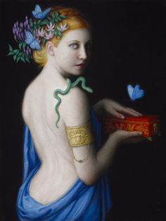 "aphroditepandemos: "" Pandora-By Chie Yoshii. In earlier accounts , Pandora's Box was actually a jar, called ""pithos"" in Greek. Japanese Artists, Art For Art Sake, Woman Painting, Greek Art, Illustration Art, Art, Mythology, Cool Paintings, Beautiful Art"