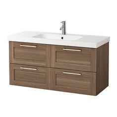 GODMORGON / ODENSVIK Sink cabinet with 4 drawers - walnut effect - IKEA
