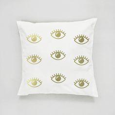 Cojines - Eyes Pattern Pillow, Gold Eyes Pillow, Home Decor - hecho a mano en DaWanda.es