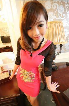 Fashionable & Pretty Lapel Long Sleeve Yarn Spliced Full Coverage Dress----Red