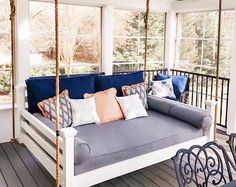 Hanging Porch Bed, Farmhouse Porch Swings, Porch Furniture, New Homes, House Design, Screen Porch Decorating, Lanai Decorating, Bed Swings, Mattress