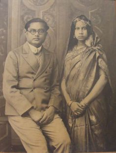 Indian Husband and Wife - Vintage Photograph 1930's
