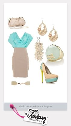 ivory and light teal dress and shoes