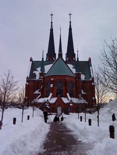 Norwegian church - I believe this to be the twin spired church of Skien, Telemark, Norway