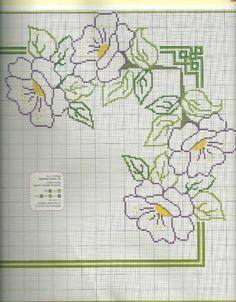 Forget the flowers, I like the corners! Cross Stitch Borders, Cross Stitch Flowers, Cross Stitch Kits, Cross Stitching, Cross Stitch Patterns, Blackwork Embroidery, Ribbon Embroidery, Cross Stitch Embroidery, Embroidery Patterns