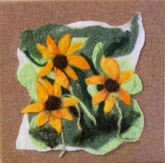 Needle Felted Wool Painting -yellow daisies  Three brown eyed Susan flowers with eyes wide open are staring at you. This wool painting began with a piece of recycled woven wool . I stretched this fabric on to wooden stretcher bars. The staples are on the back and the edges are neat so that the picture does not need a frame. If you prefer a frame it can of course be framed. The picture was made separately using both wet felting and needle felting techniques. I then needle felted the free form…