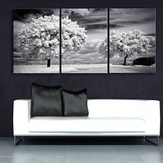 E-HOME® Stretched Canvas Art The Trees Decoration Painting Set of 3 3022359 2016 – $76.99