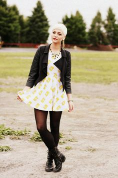 Yellow dress and combat boots