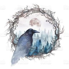 Forest Tattoos, Nature Tattoos, Body Art Tattoos, Black Crow Tattoos, Full Moon Tattoos, Watercolor Illustration, Watercolor Art, Crow Painting, Dark Art Drawings