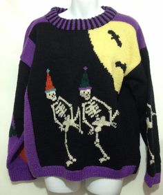 Berek Ugly Halloween Wool Sweater Dancing Skeletons Bats Pumpkin Cats L Handknit Aesthetic Fashion, Look Fashion, Aesthetic Clothes, Fashion Outfits, Pretty Outfits, Cool Outfits, Swaggy Outfits, Moda Vintage, Ugly Sweater