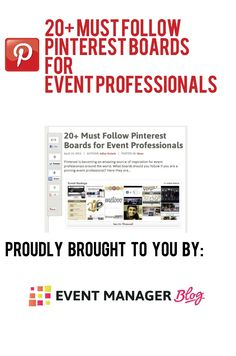 The definitive collection of awesome Pinterest boards for event professionals. Thanks to @lyanne74 @Christina Childress @ Christina Leigh Events @Libby Golden Man @Grupio Mobile Mobile @U.S. Department of Energy Parks @Sara Eriksson Berner @Abbey Adique-Alarcon Fowler @saraareleano @TriumphExpo @Grace K Cash @Meredith Kiddle Cancer Society Relay For Life - Kentville @Belinda Chang Jilbert @BusyEvent @Jenn L Nemerson @cbibc @Anne / La Farme Thornley-Brown @Ingrid . HQ @eSpeakers Marketplace…