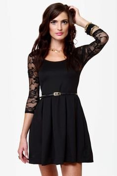 Land of the Laced Black Dress at LuLus.com!