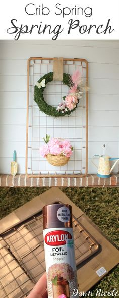 Turn an old crib spring into an adorable copper porch display! | bydawnnicole.com