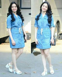 Tamanna Bhatia wearing a denim dress Casual Dress Outfits, Blue Dress Casual, Stylish Dresses, Cute Dresses, Prom Dresses With Sleeves, Lace Dress With Sleeves, Western Outfits, Indian Outfits, Western Formal Wear