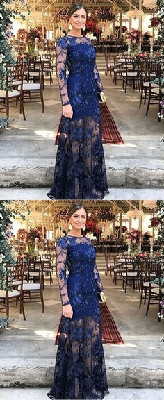 elegant navy prom party dresses with appliques long sleeves, fashion evening gowns for formal party, #formaldresses
