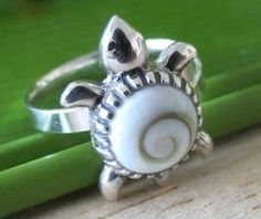 Sterling Silver Two Teardrops Ring with Eye of Shiva Shell Inlay